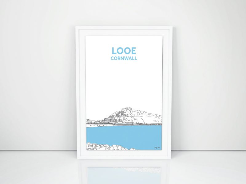 New Cornish Prints, looe travel print cornwall art